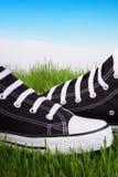 Chaussures noires sur une herbe verte Image libre de droits
