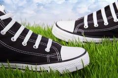 Chaussures noires sur une herbe verte Photo libre de droits