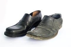 Chaussures nouvelles et utilisées Images stock