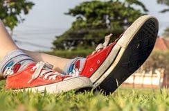 Chaussures, pelouse et détente rouges Image stock