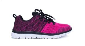 Chaussures roses et noires de femme de sport d'isolement sur le fond blanc Image stock