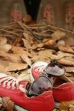 Chaussures rouges avec des lunettes de soleil sur le fond brun de feuilles Photos stock