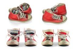 Chaussures rouges avec les dentelles et les chaussettes blanches Image stock