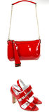 Chaussures rouges de rouge de sac Images stock