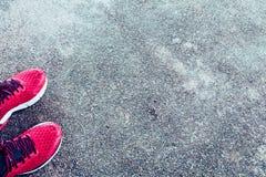 Chaussures rouges fonctionnant avec de l'eau potable sur le plancher en béton Image libre de droits