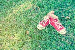 Chaussures rouges sur l'herbe Photographie stock libre de droits