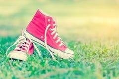 Chaussures rouges sur l'herbe Photos stock