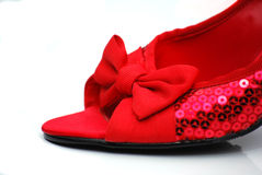 Chaussures sequined rouges Photo stock