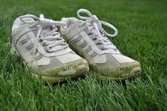 Chaussures souillées par herbe Image stock
