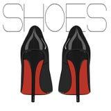 Chaussures stylets de vecteur de talons hauts Illustration de femme de mode Chaussures de luxe en cuir d'élégance Foetus noirs ro Images stock