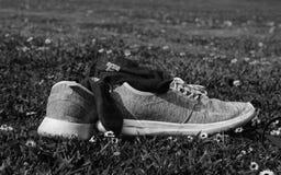 Chaussures sur l'herbe en noir et blanc images stock