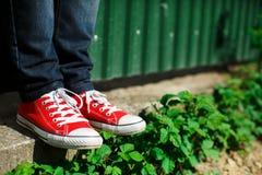 chaussures sur le béton parmi des buissons Photographie stock