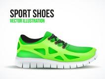 Chaussures vertes courantes Symbole lumineux d'espadrilles de sport Photo libre de droits