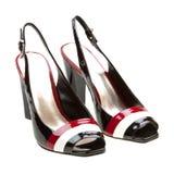 Chaussures womanish noires d'isolement sur le blanc Images libres de droits
