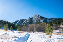 Flatirons in the snow royalty free stock images