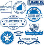 Chautauqua county, New York. Set of stamps and signs. Stock Images