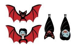 Chauve-souris de vampire et Dracula sur le blanc, bande dessinée de vecteur illustration libre de droits