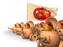 Chauvinism. Chicken uprising. Chicken in tanks revolt against the with the flag Vector Illustration