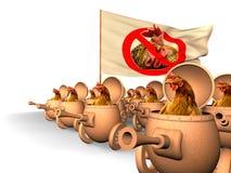 Chauvinisme. De opstand van de kip Stock Afbeeldingen