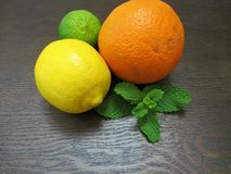 Chaux, citron, orange photographie stock
