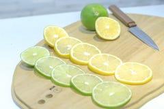 Chaux et citron de tranche Photos stock