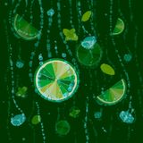 Chaux, glaçons et feuilles en bon état sur un fond vert Mojito lumineux de fond d'agrume des chaux illustration libre de droits