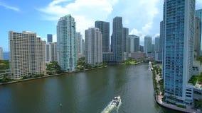 Chave aérea Miami 4k de Brickell do tiro vídeos de arquivo