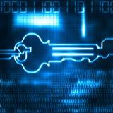 Chave abstrata e código binário Fotografia de Stock