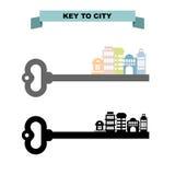 Chave ao sity Chave do vintage e construções da cidade Arranha-céus do escritório ilustração royalty free