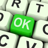 A chave aprovada significa correto ou a aprovação Foto de Stock Royalty Free