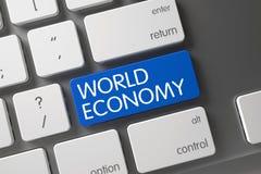 Chave azul da economia mundial no teclado 3d Fotografia de Stock Royalty Free