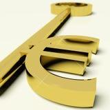 Chave com euro- sinal como o símbolo para o dinheiro ou a riqueza Fotos de Stock