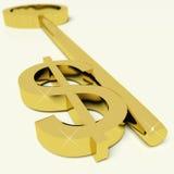Chave com sinal de dólar como o símbolo para o dinheiro ou a riqueza Imagem de Stock