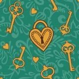 Chave--coração-teste padrão Fotografia de Stock Royalty Free