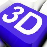 a chave 3d mostra tridimensional ou dimensões Fotografia de Stock Royalty Free