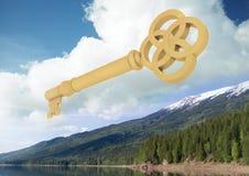 chave 3D que flutua sobre a floresta Fotografia de Stock
