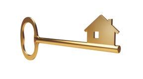 Chave da casa do ouro Imagem de Stock Royalty Free