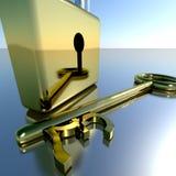 Chave da libra com o cadeado que mostra economias e finança da operação bancária fotografia de stock