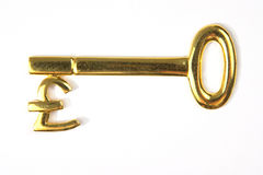 Chave da libra do ouro Imagens de Stock