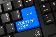 Chave da notícia de Azul Empresa no teclado 3d Fotografia de Stock Royalty Free