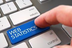 Chave das estatísticas da Web da imprensa do dedo da mão 3d Fotografia de Stock