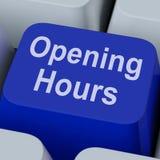 A chave das horas de abertura mostra o negócio de retalho aberto Imagem de Stock Royalty Free