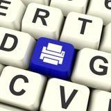 Chave de computador da cópia no acesso mostrando azul a uma cópia impressa Imagem de Stock Royalty Free