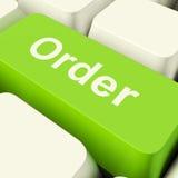 Chave de computador da ordem no verde que mostra em linha comprar e Shoppi Imagens de Stock Royalty Free