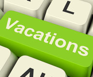Chave de computador das férias para registrar e encontrar feriados em linha fotos de stock