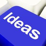 Chave de computador das ideias no azul que mostra conceitos ou faculdade criadora Imagens de Stock