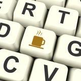 Chave de computador do ícone da caneca de café como o símbolo para tomar uma ruptura Imagens de Stock