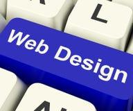 Chave de computador do design web que mostra o Internet ou Desig gráfico em linha Foto de Stock Royalty Free