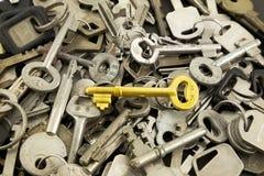 Chave de esqueleto do ouro e chaves velhas do metal Fotos de Stock