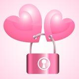Chave de fechamento cor-de-rosa de dois corações Imagem de Stock Royalty Free